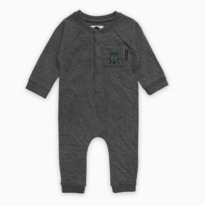 Sproet & Sprout - Onesie Beetle Badge Dark Grey Melee