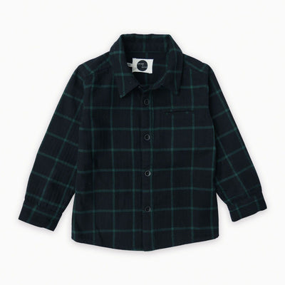 Sproet & Sprout - Shirt Check Black with Forrest Green