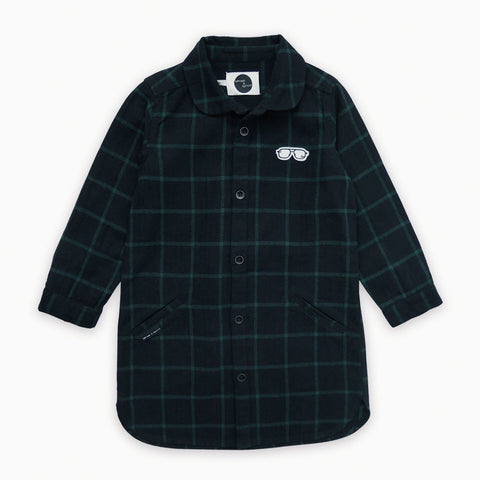 Sproet & Sprout - Shirt Dress Check Black & Forrest Green