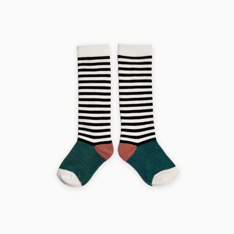 Sproet & Sprout - Socks Stripe Milk & Black & Forrest Green & Dark Cedar