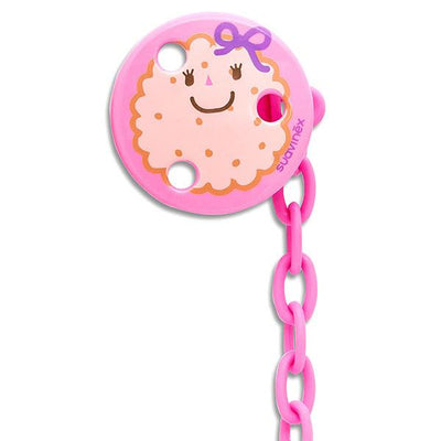 Soother Holder Round Cookie Pink