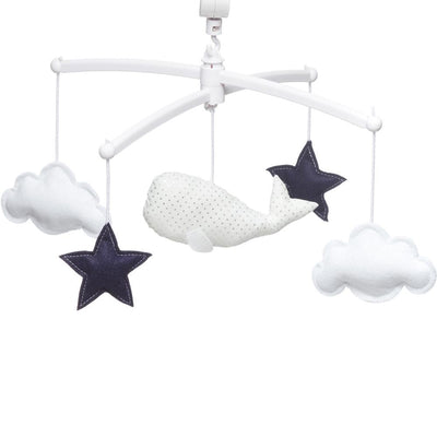 Pouce et Lina - Musical Mobile White and Navy Blue Whale