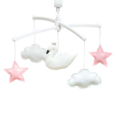 Pouce et Lina - Musical Mobile White Pink Swan