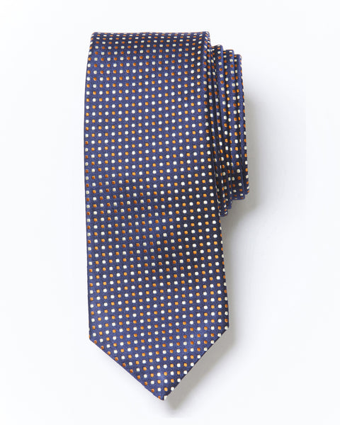 Morden Cut Polka Dot Silk Tie - Blue