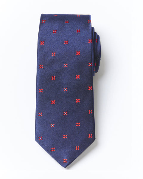 Morden Cut Dimond Silk Tie - Navy Red
