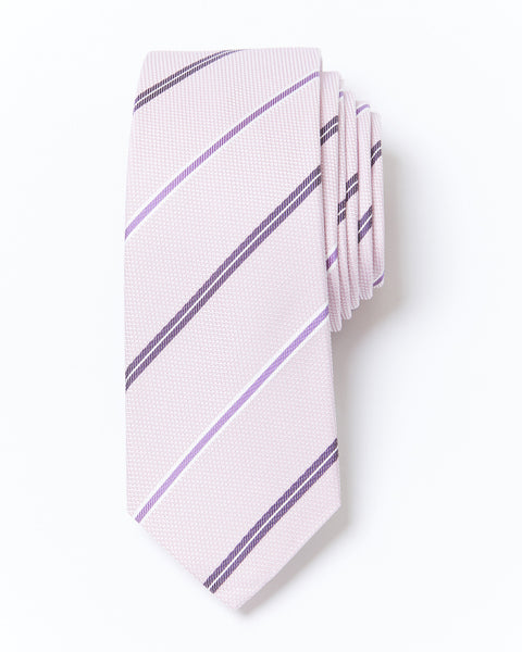 Morden Cut Strip Silk Tie - Pink
