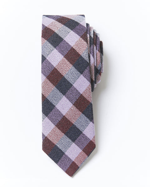 Slim Cut Checkered Silk & Wool Tie