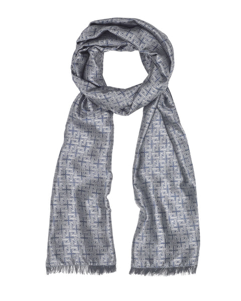 Light Blue Woven Silk Scarf (reversible)
