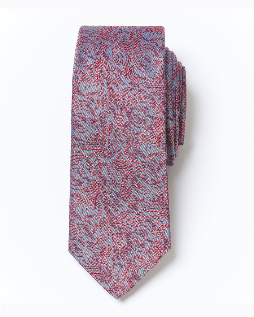 Morden Cut Occasion Silk Tie - Red Grey Floral