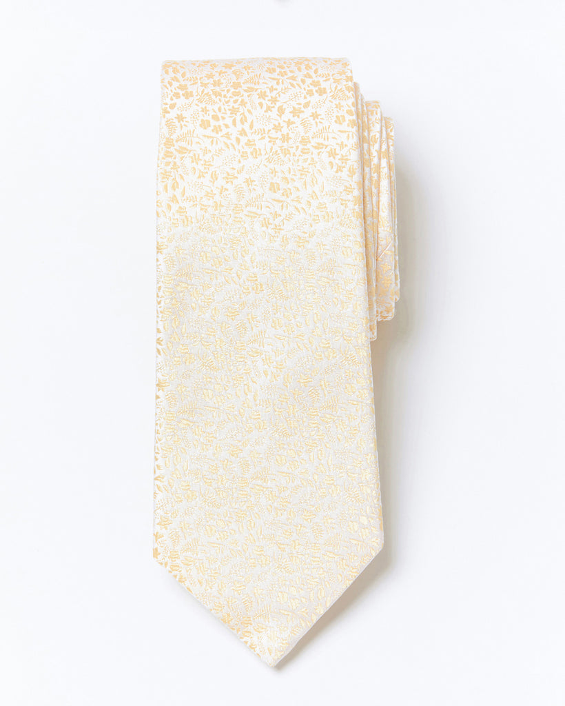 Morden Cut Occasion Silk Tie - Soft Yellow Floral