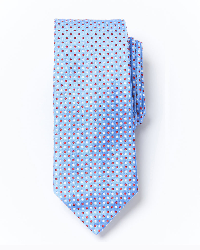 Morden Cut Polka Dot Silk Tie - Light Blue Red