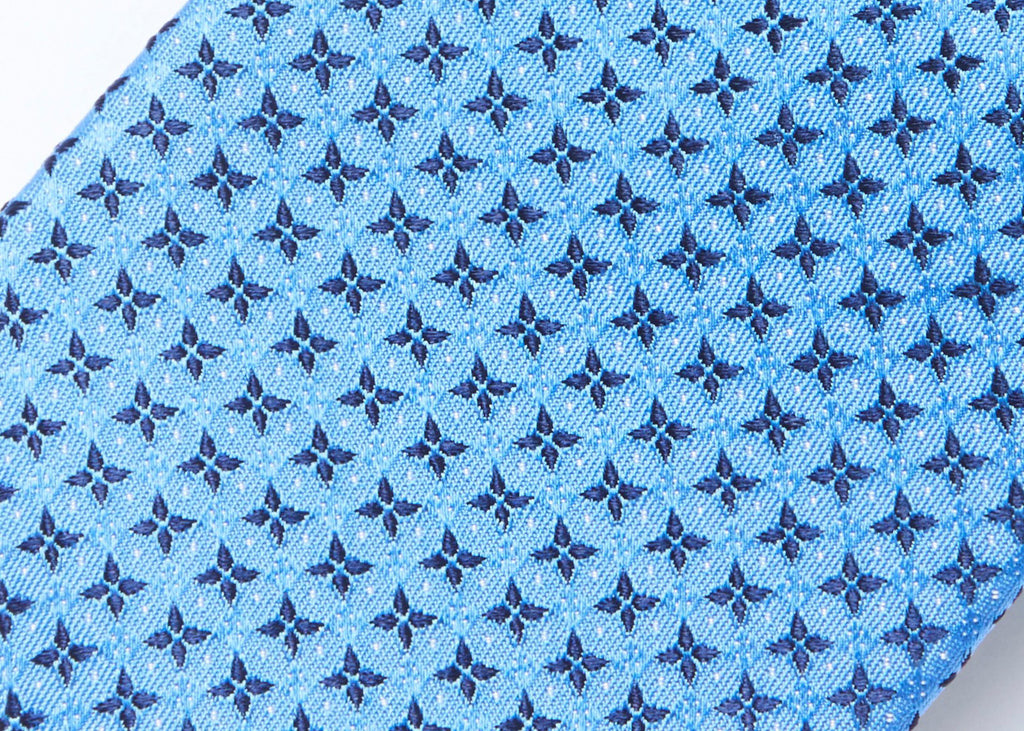 Morden Cut Silk Tie - Light Blue Floral