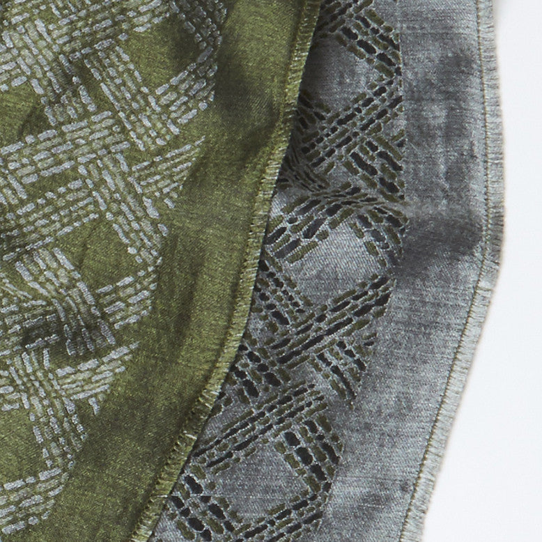 Pastel Grey-Green Geo Woven Silk-Wool Scarf (reverisble)