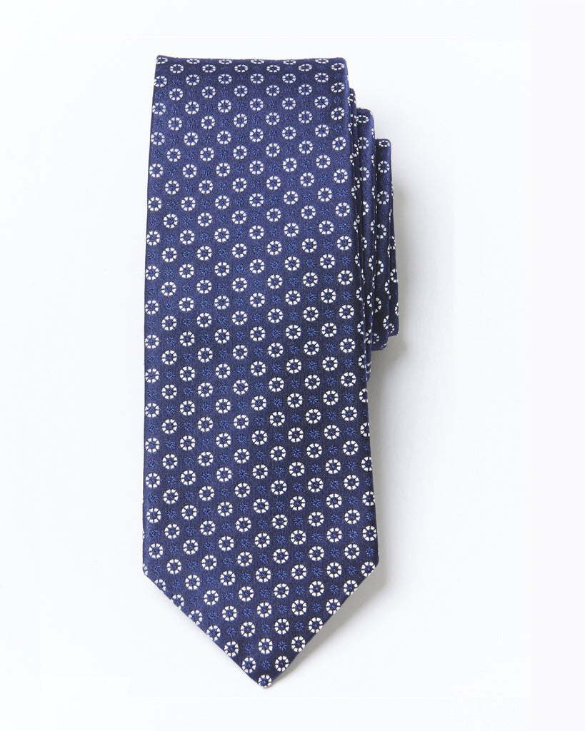 Morden Cut Sphere Silk Tie - Blue