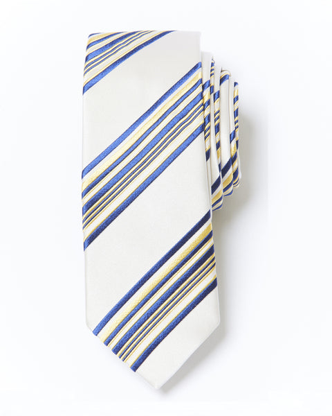 Morden Cut Striped Silk Tie - Ivory Blue