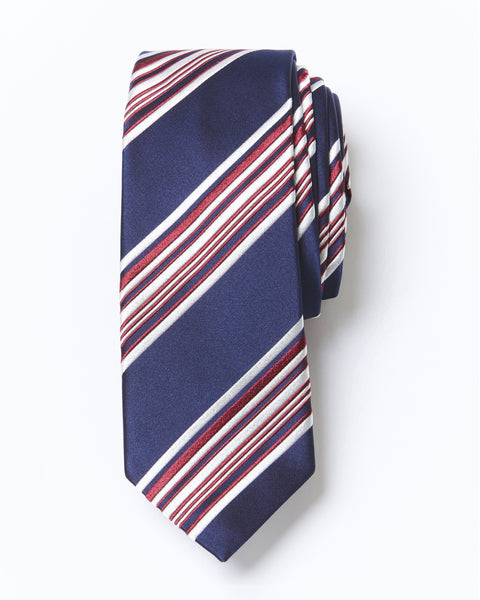 Morden Cut Striped Silk Tie - Navy Blue