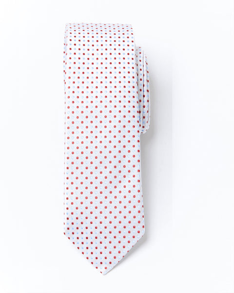 Slim Cut Polka Dot Silk Tie - Red Blue