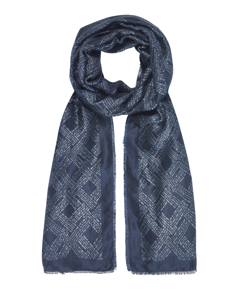Blue Geo Woven Silk-Wool Scarf (reversible)