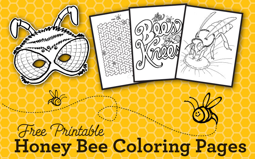 Printable Honey Bee Coloring Pages, Games, & Wearable Honey Bee Mask –  CanningCrafts
