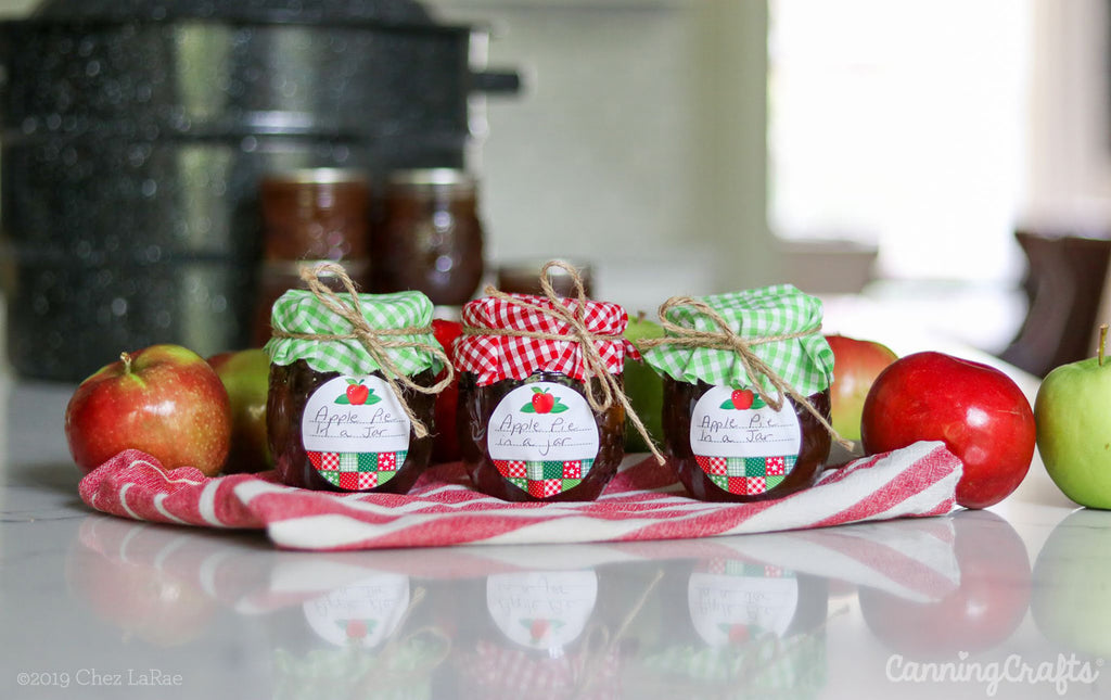 Apple Pie in a Jar Canning Recipe with Canning Labels & Cloth Jam Jar Covers | CanningCrafts.com