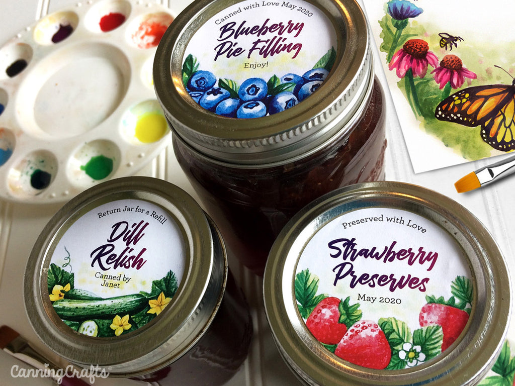 Watercolor Canning Label Collection | CanningCrafts.com