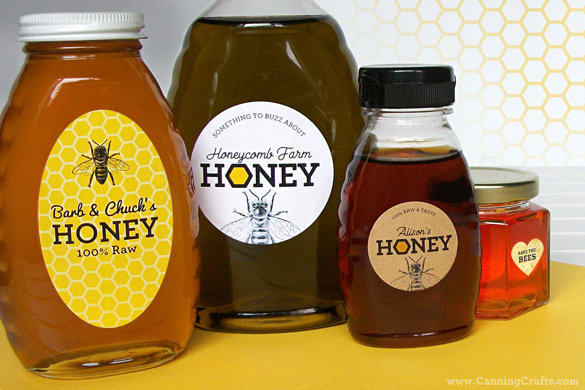 Custom Honey Labels for Backyard Beekeepers by CanningCrafts.com