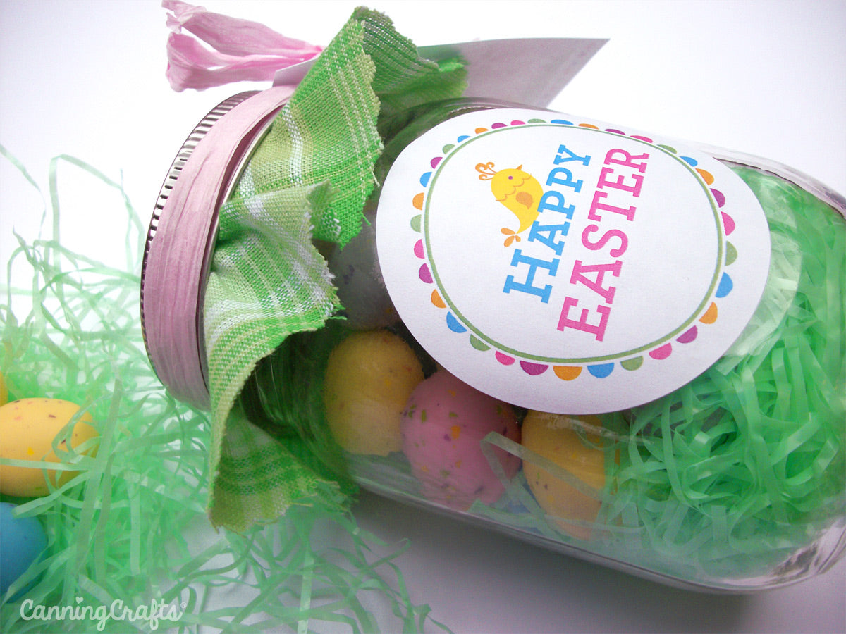 picture about Free Printable Hang Tags called Colourful Adhesive Canning Jar Labels: Cost-free Printable Easter