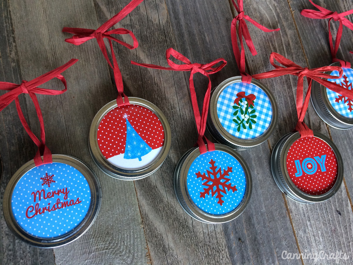 FREE Printable Mason Jar Ring Christmas Ornaments | CanningCrafts.com