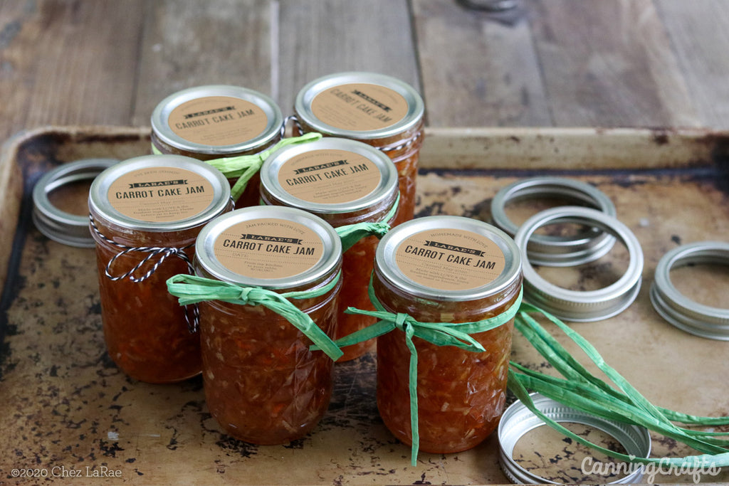 Carrot Cake Jam Jars with Custom Mason Canning Jar Labels | CanningCrafts.com