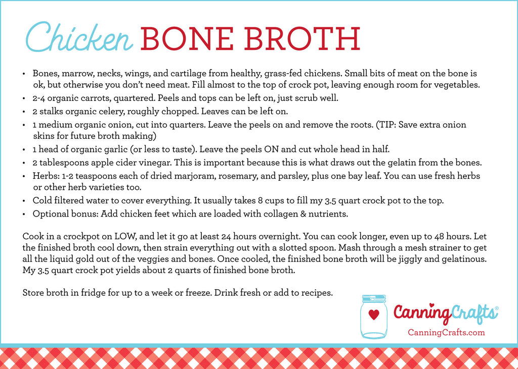 Chicken Bone Broth recipe card | CanningCrafts.com
