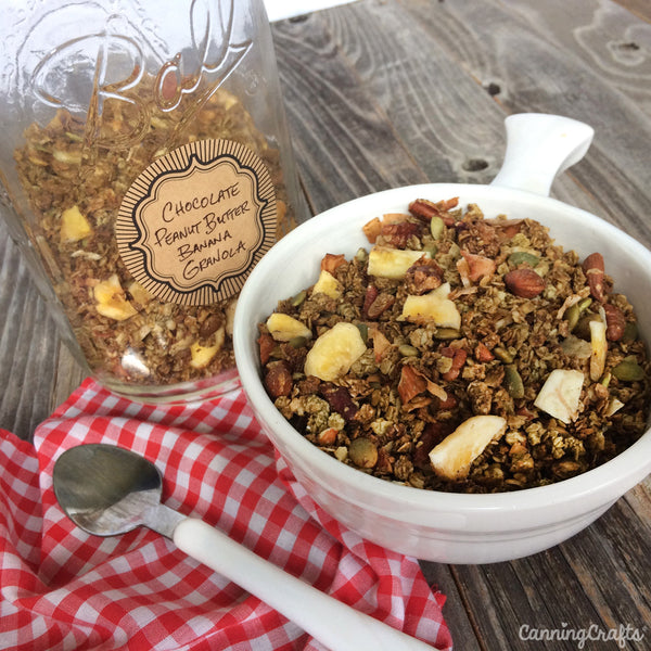Chocolate Peanut Butter Banana Granola made with pure maple syrup | CanningCrafts.com