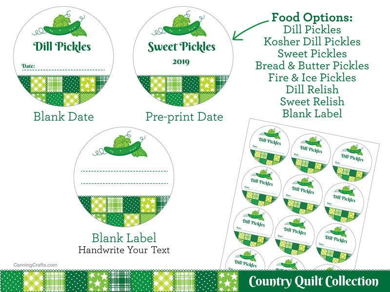 Country Quilt Pickle Canning Labels | CanningCrafts.com