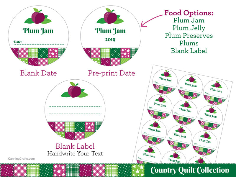 Country Quilt Plum Canning Labels | CanningCrafts.com