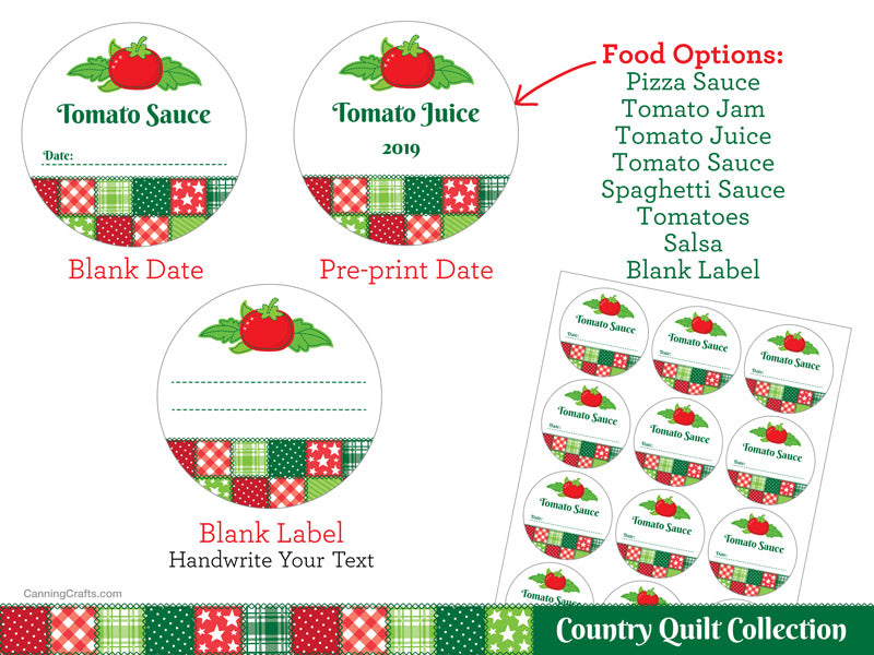 Country Quilt Tomato Canning Labels | CanningCrafts.com