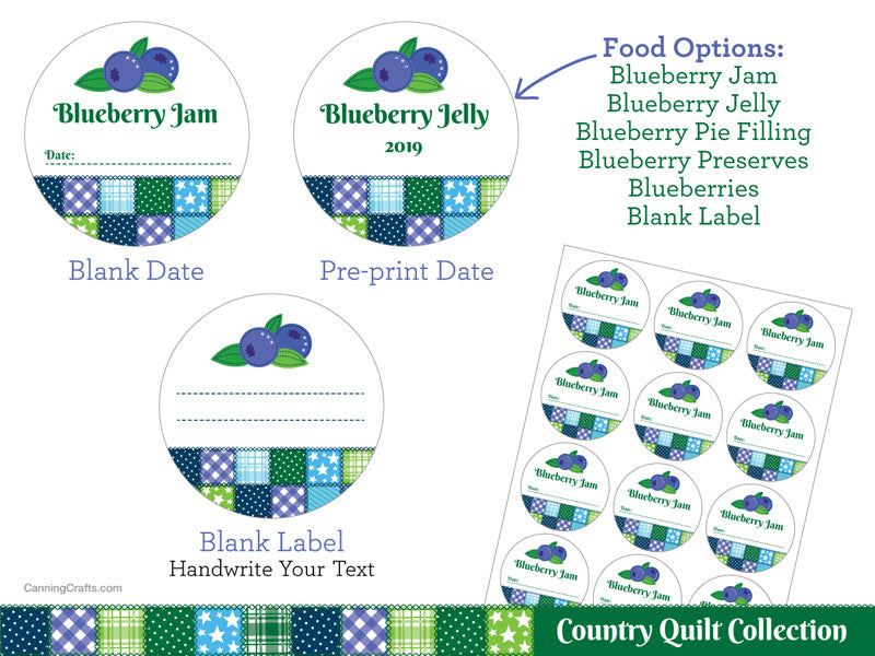 Country Quilt Blueberry Canning Labels | CanningCrafts.com
