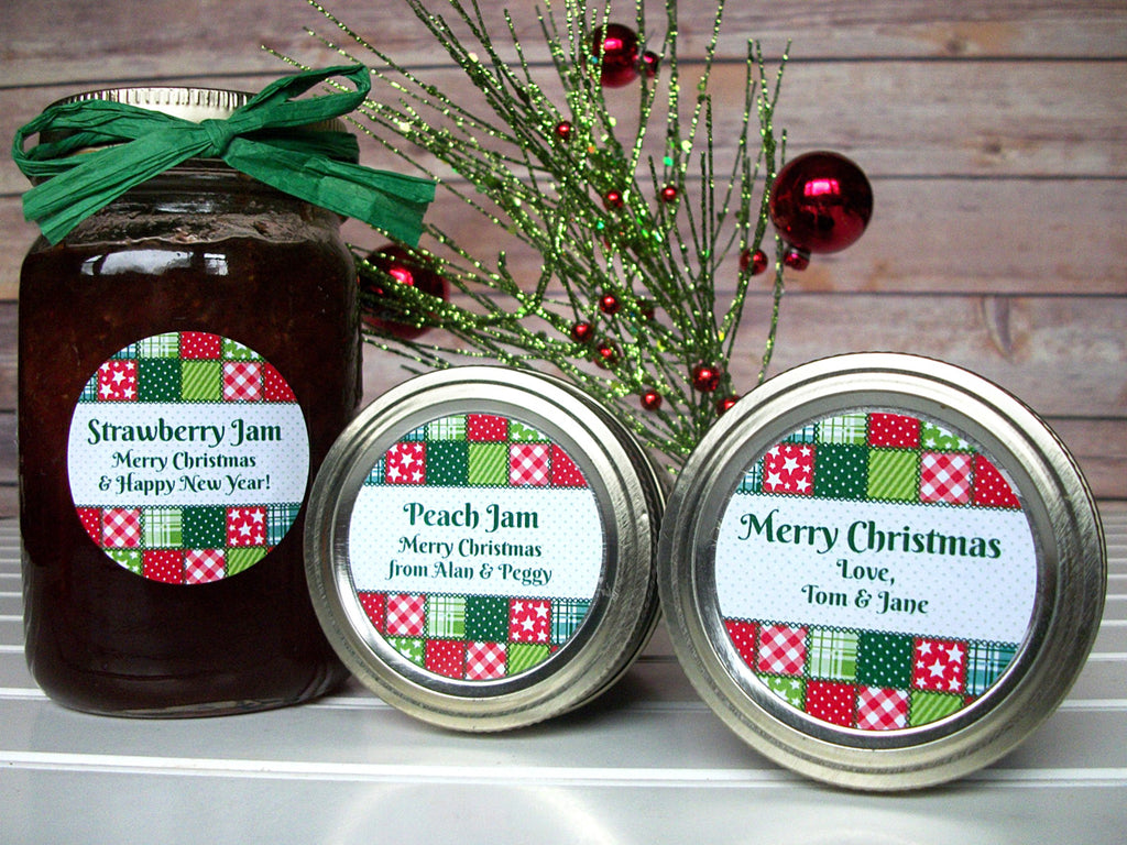Custom Country Quilt Christmas Canning Labels | CanningCrafts.com
