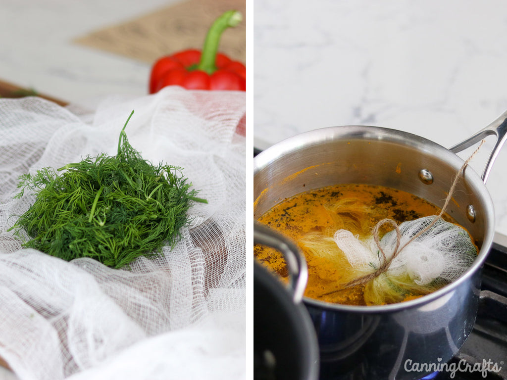 Simmering Fresh Dill and Brine for Crispy Dill Pickles Canning Recipe | CanningCrafts.com