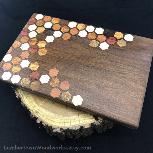 Honeycomb Inlay Cutting boards by Lumbertown Woodworks