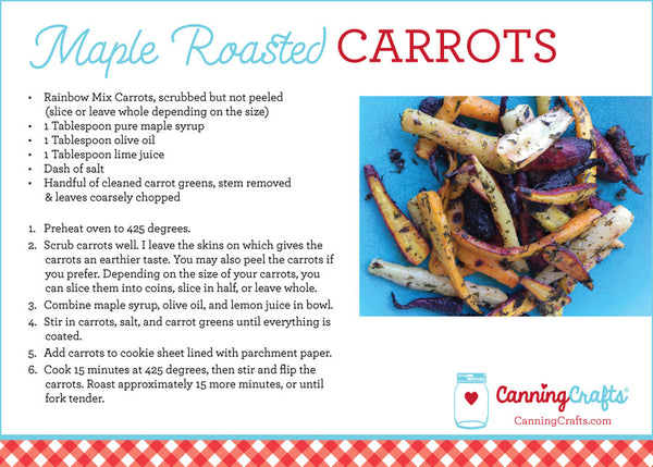 Maple Roasted Carrots Recipe Card | CanningCrafts.com