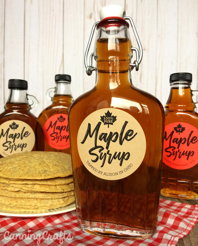 Custom Red & Kraft Robust Maple Syrup Bottle Labels | CanningCrafts.com