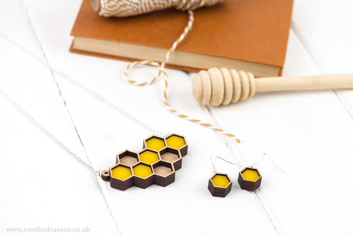 Yellow Honeycomb Necklace And Earring Set by Rosebud Casson