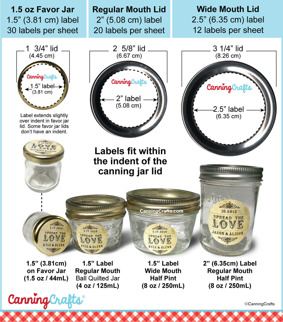 image regarding Printable Canning Labels named Canning label sizing charts for regular monthly large mouth mason