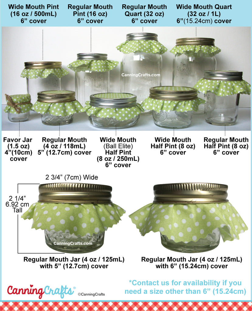 Canning Jam Jar Cloth Covers Size Charts | CanningCrafts.com