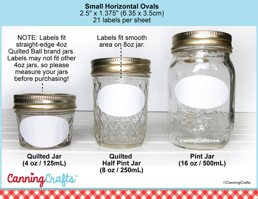 Oval Canning Jar Labels Size Chart | CanningCrafts.com