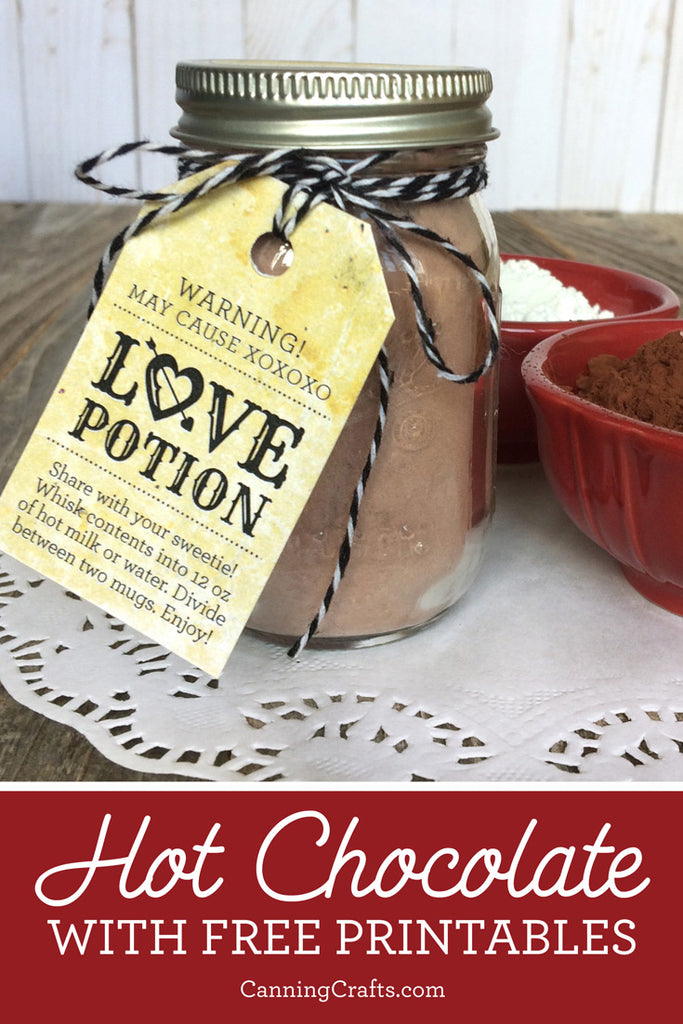Valentine's Day Hot Chocolate Recipe with Free Printable Tags & Labels | CanningCrafts.com