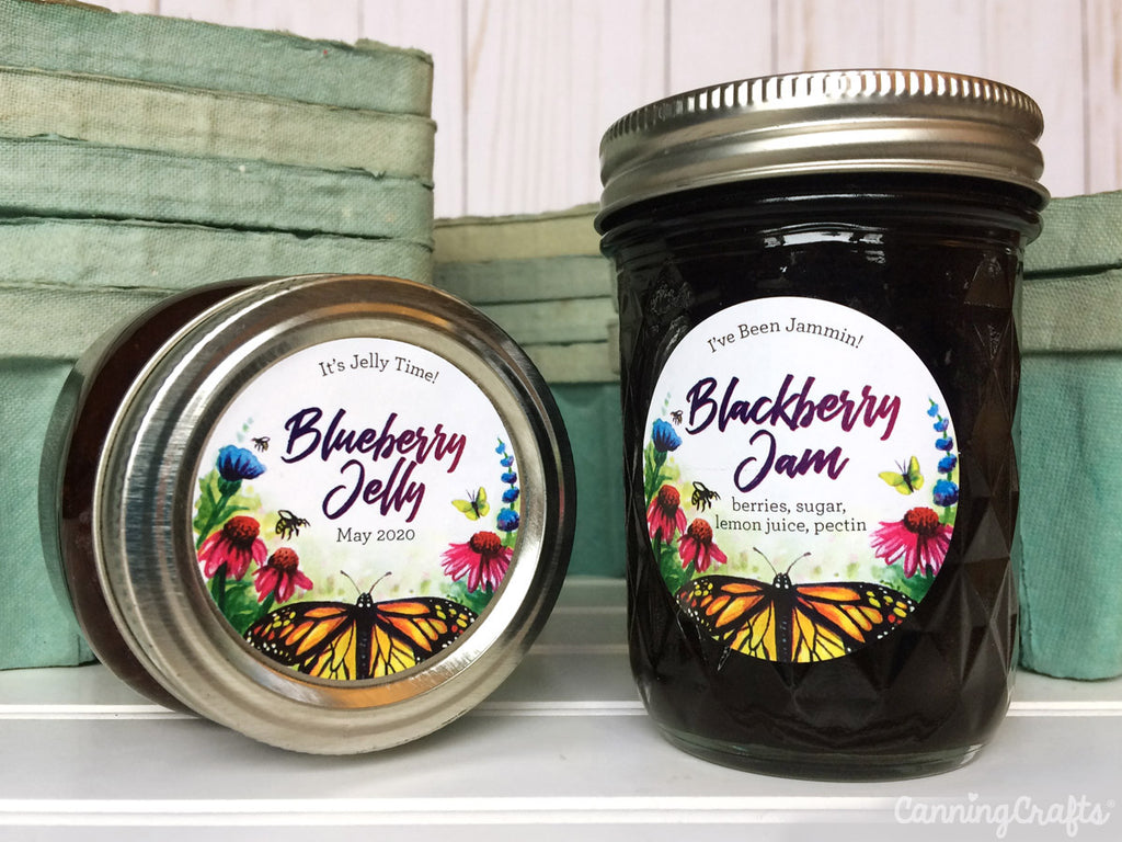 Custom Watercolor Butterfly & Pollinators canning labels | CanningCrafts.com