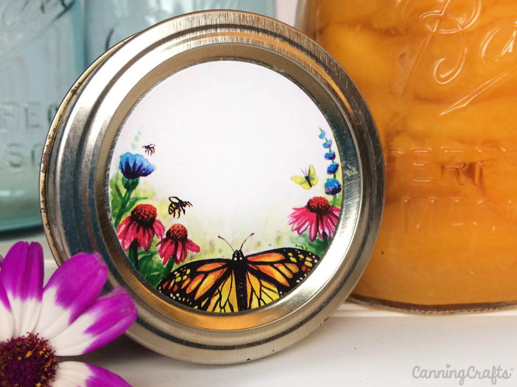 Watercolor Butterfly & Pollinators canning labels | CanningCrafts.com