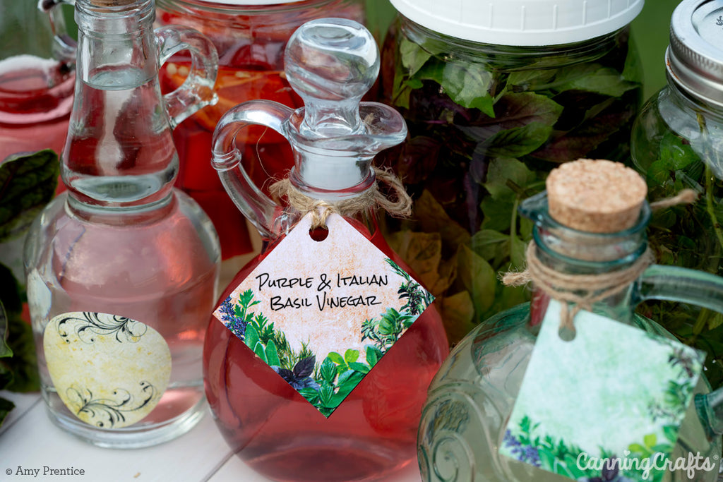 Herb Flavor Infused Vinegar with FREE Printable Hang Tags | CanningCrafts.com