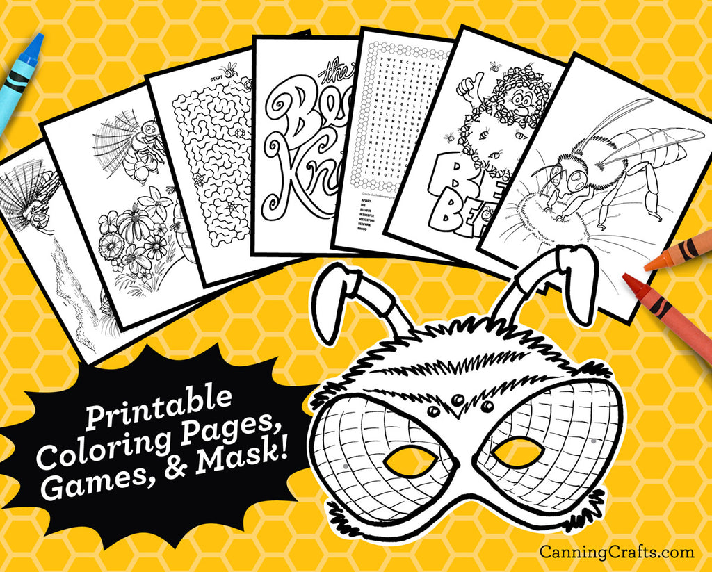 Printable Honey Bee Coloring Pages, Games, & Wearable Honey Bee Mask ...