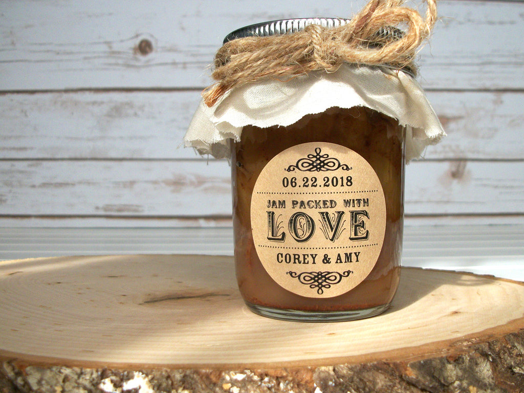 Custom Jam Packed with Love Wedding Jam Jar Favor Labels | CanningCrafts.com